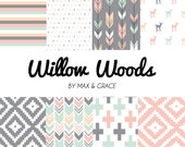 Willow Woods. You Design. Blush, Mint, and Gray Bedding. Girl Crib Bedding. Woodland Crib Set. Nursery Bedding Set. Crib Skirt. Fawn Nursery