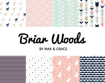 Briar Woods. You Design. Blush, Mint, and Navy Bedding. Girl Crib Bedding. Woodland Crib Set. Nursery Bedding Set. Fitted Crib Sheet.