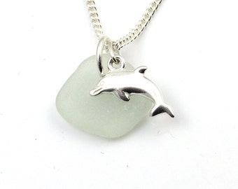 Sea Glass Jewelry - Sea Glass and Sterling Silver Dolphin Necklace -  Modern - Bridal -  Everyday - Dolphin Jewelry - The Strandline