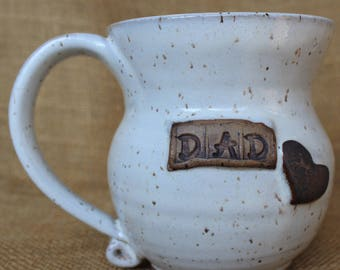 Dad mug, Father's Day gift, large hand thrown personalized dad mug, speckled stoneware