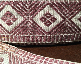 "1930's Vintage Flat Trim with Geometric Chevron Design , Woven Flat  Cotton Trim Light Brown and Cream , 1 1/2"" Wide Flat Trim"