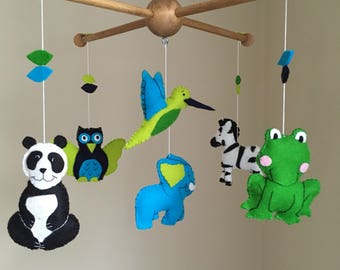 Jungle Animal Mobile, Nursery Mobile, Baby Mobile, Baby Shower Gift, Gift for Women, Jungle Mobile
