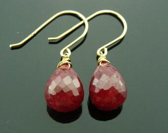 Genuine Ruby Drops 14K Gold Earrings