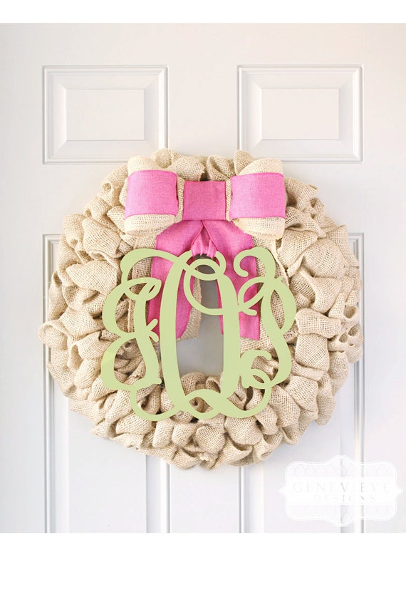 Items similar to unique summer gifts ideas burlap wreath for Baby shower front door decoration ideas