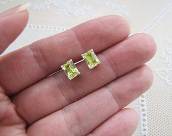 Peridot CZ Emerald Cut Sterling Silver stud earrings, cubic zirconia  7X5 MM
