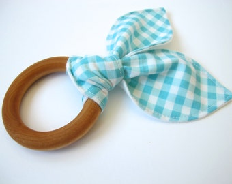 Wooden Teether - Turquoise Gingham - Wooden Teething Ring
