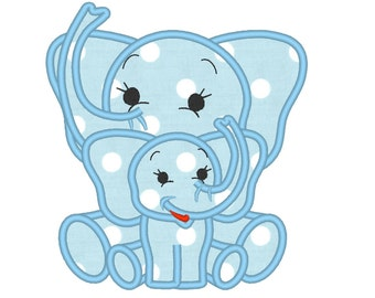 Little elephant and elephant brother,  mommy and me / or big and little sister or brother machine applique designs, 4x4, 5x7
