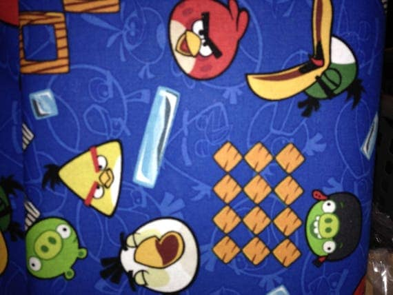 Blue Woven Angry Birds Fabric (1/2 Yard Cut)
