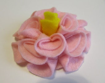 Add a Felt Flower with yellow center to any Sleep Mask or Neck Wrap- Light Pink