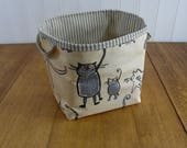 Cat and Mouse Print Ex Large Storage Basket Bin- oilcloth wipe clean