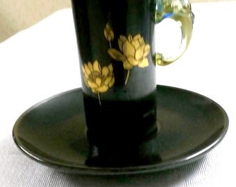 Black Oriental Chocolate Cup and Saucer; Glass Dragon Handle circa late 1800's to early 1900's-  453