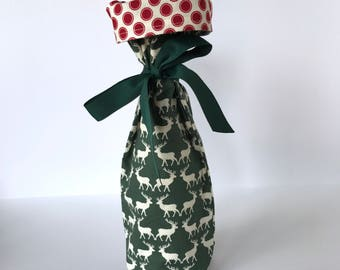 Wine Gift Bag -  green deer with red dots green ribbon