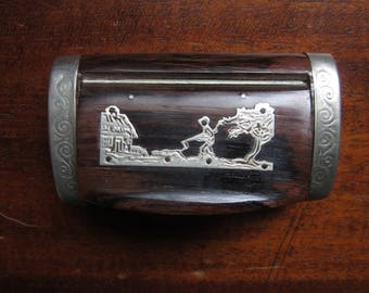 Antique Vintage Silver Rosewood Snuff Box Hunter and Dog