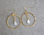 Golden Moonstone Earring Dangle Hoop Earring