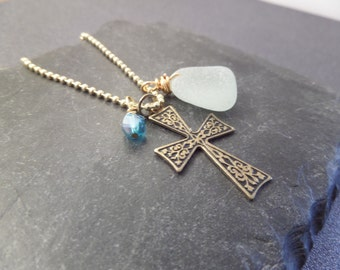 Scottish Sea Glass Necklace with Gold Cross and Aqua Beach Glass, March Birthstone, Christian Jewelry