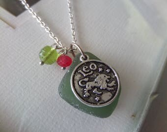 Leo Zodiac Necklace, Green Scottish Sea Glass Necklace July Birthstone August Birthday, Astrological Sign Jewelry, Scottish Jewelry