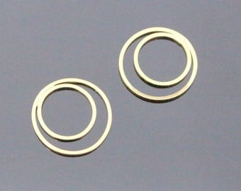Gold Multiple Circle Drop Connector,  Double Link Moon Shape Connector Pendants, Charms, Earring Findings, 2 pc, I811304