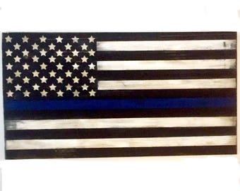 Thin Blue Line Flag Wooden Sign, Hand Painted Law Enforcement Rustic American Decor