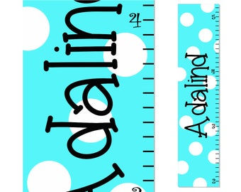 Personalized Polka Dot Growth Chart Children Canvas Growth Chart Turquoise White