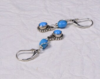 Sleeping Beauty Turquoise Sterling Silver Earrings . Dangle Earrings. Turquoise Sterling Silver Earrings. by Trendydeals