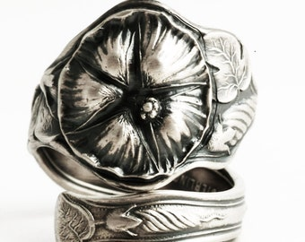 Morning Glory Ring, Sterling Silver Spoon Ring, Art Nouveau Ring, Floral Ring, Flower Ring, Antique Manchester ca 1900, Adjustable Ring 6336