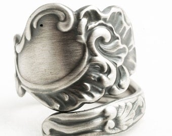 Antique Marie Antoinette Spoon Ring, Victorian Rococo Swirl Ring, Sterling Silver Spoon Ring, Handmade Jewelry, 925 Custom Ring Size (6506)