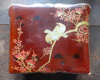 Vintage Japanese Red Lacquer Balsa Wood Box with Birds and Flower Motive Jewellery Jewelry Trinket Box circa 1950-60's / English Shop