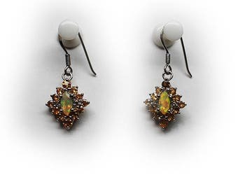 Sterling Silver  Marquise Cut Opal Dangle Drop Earrings with Citrine Halo
