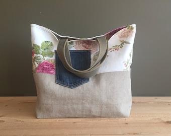 sturdy linen and flower tote bag - denim pocket tote bag - floral market tote - neutral shopping bag - denim linen canvas bag - mothersday