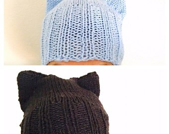 Knitted Cat Ears Hat/Beanie, winter Accessory, Hand Made in the USA, Item No. BDE005
