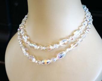 Aurora Borealis Austrian Crystal Double Strand Necklace