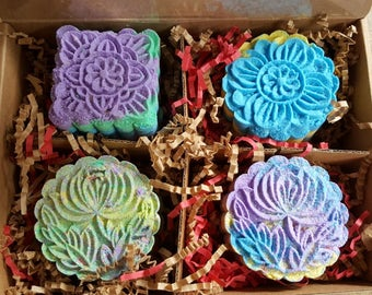Gift Box MoonCake Bath bombs  choose your scent 4 Bombs
