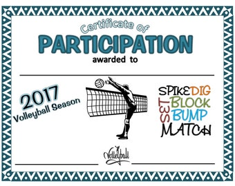 2017 Volleyball Certificate  (Girl/Boy) - Digital Download