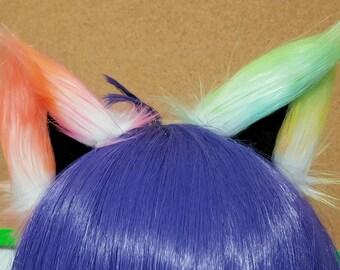 Rainbow Sorbet Galaxy and Black Clip on Cat Ears OOAK
