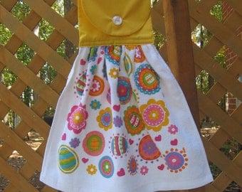 Easter Egg Kitchen Tea Towel, Hanging Kitchen Dish Towel, Bright Easter Eggs, Easter Kitchen Towels, Party Towel, Hand Towel SnowNoseCrafts