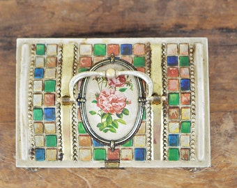 French Tin box Chocolate Chest Embossed Pink rose panel mosaic handle