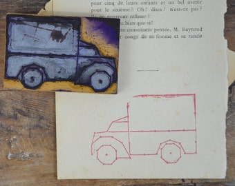 French rubber stamp Van Truck Wagon Lorry vintage vehicle transport stamping