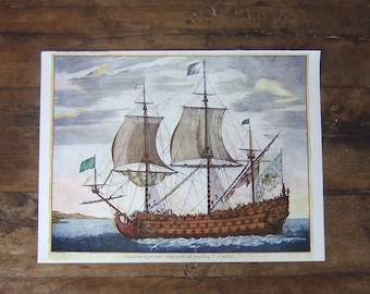 1960s French Sailing Boat print  reproduction naval French Navy