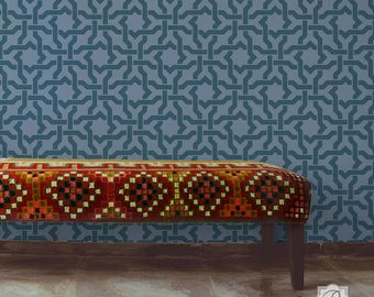 Woven Star Moroccan Wall Stencil for DIY Wallpaper Look