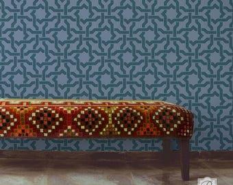 Woven Star Moroccan Wall Stencil for DIY Wallpaper Look