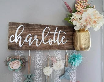 Headband Bow Holder, Custom Name Board, Baby Girl Nursery Decor, Baby Shower Gift, Bow Organizer, Headband Organizer, Brown Stain Distressed