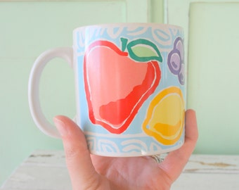 Vintage FRUIT SALAD Coffee Mug....mug. orange cup. drink. tea. bright. 1970s. treat. kitsch. drinking. serving. eat. fruit cup. vintage gift