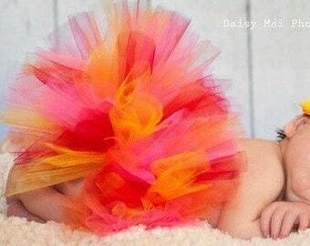 Infant Tutu Red Yellow Orange Pink Flower Headband, Newborn Photo Prop, Baby Shower, Birth Announcement, 1st Birthday Tutu, Newborn Tutu Set