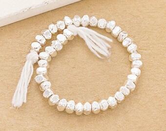 40 of Karen Hill Tribe Silver Facet Beads 3x2 mm. mm. :ka4270