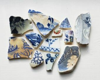 London Thames Sea Pottery, Ceramic Shards, Porcelain, Broken China, Set of 12