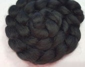 Dyed Black Alpaca and Cultivated Silk Roving - 80/20 - 4 ounces