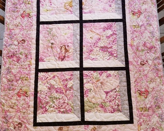 Spring Fairy Quilt Handmade Attic Window - Pink, Orchid and Purple