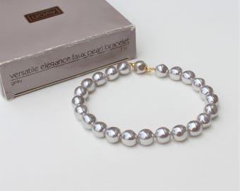 Vintage 1990 Avon Versatile Elegance Size SMALL Faux Pearl Grey Gray Bracelet with Hidden Clasp in Original Box NIB