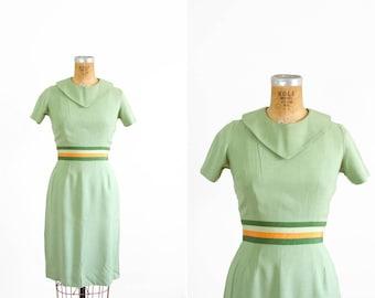 1950s Dress - 50s Dress - Jerry Gilden Green Short Sleeve Wiggle Dress