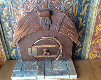Hobbit Treasure, Fairy Door, Fantasy Assemblage, LOTR, Opening Fairy Door, Rustic Wooden, Fantasy, Tolkien, Portal